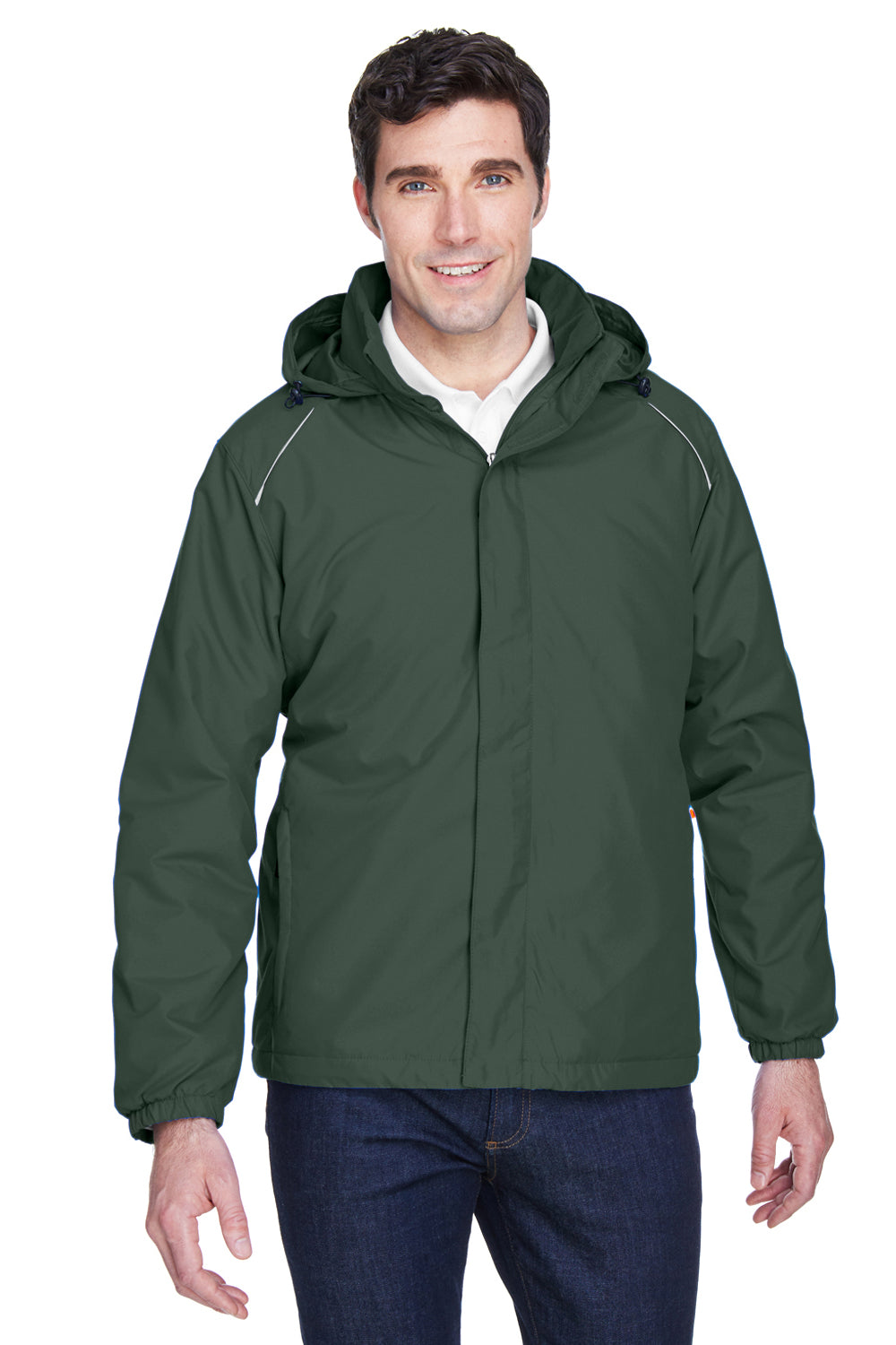 Core 365 88189 Mens Brisk Full Zip Hooded Jacket Forest Green Front