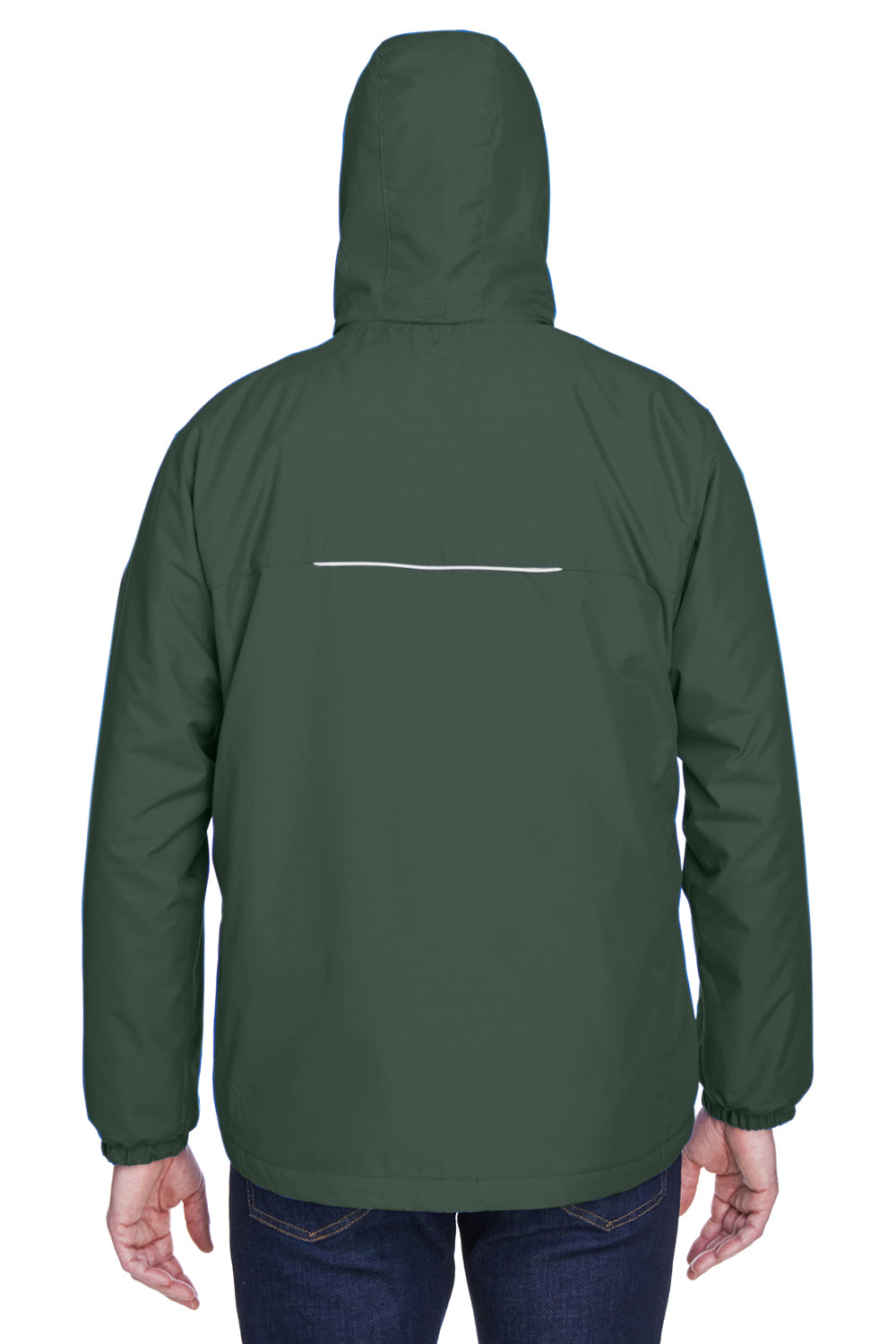 Core 365 88189 Mens Brisk Full Zip Hooded Jacket Forest Green Back