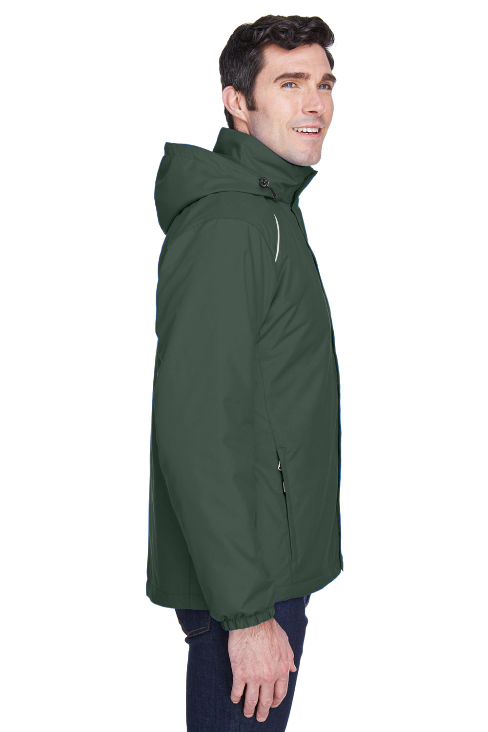 Core 365 88189 Mens Brisk Full Zip Hooded Jacket Forest Green Side