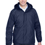 Core 365 Mens Brisk Full Zip Hooded Jacket - Classic Navy Blue