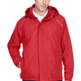Core 365 Mens Brisk Full Zip Hooded Jacket - Classic Red