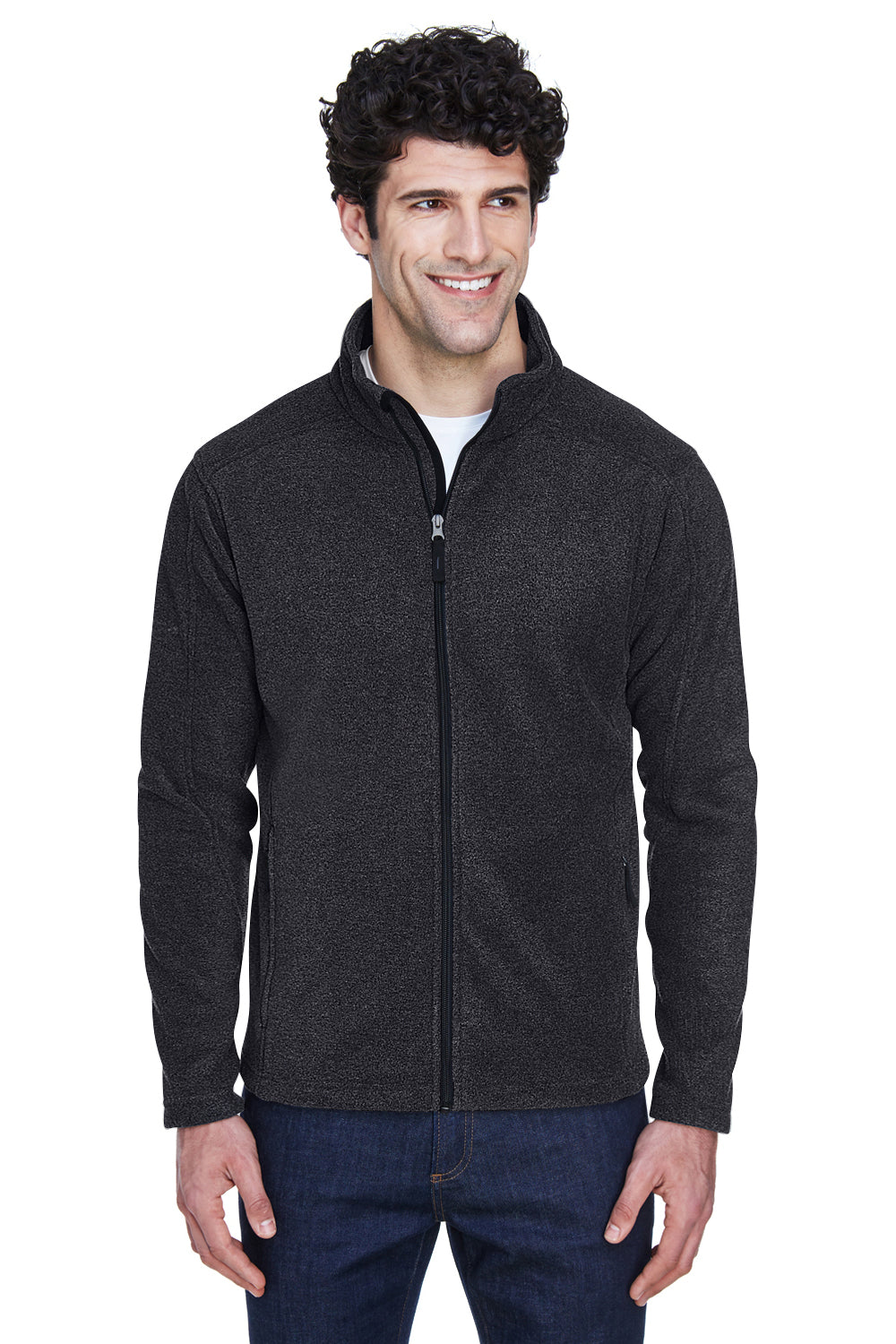Core 365 88190 Mens Journey Full Zip Fleece Jacket Heather Charcoal Grey Front
