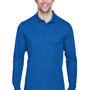 Core 365 Mens Pinnacle Performance Moisture Wicking Long Sleeve Polo Shirt - True Royal Blue