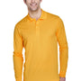 Core 365 Mens Pinnacle Performance Moisture Wicking Long Sleeve Polo Shirt - Campus Gold