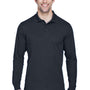 Core 365 Mens Pinnacle Performance Moisture Wicking Long Sleeve Polo Shirt - Carbon Grey