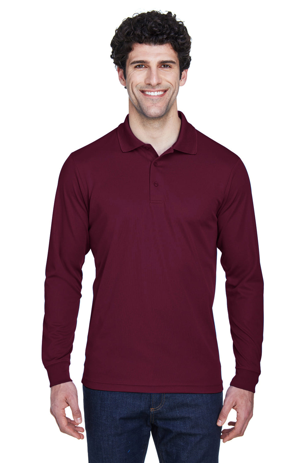Core 365 88192 Mens Pinnacle Performance Moisture Wicking Long Sleeve Polo Shirt Burgundy Front