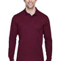 Core 365 Mens Pinnacle Performance Moisture Wicking Long Sleeve Polo Shirt - Burgundy