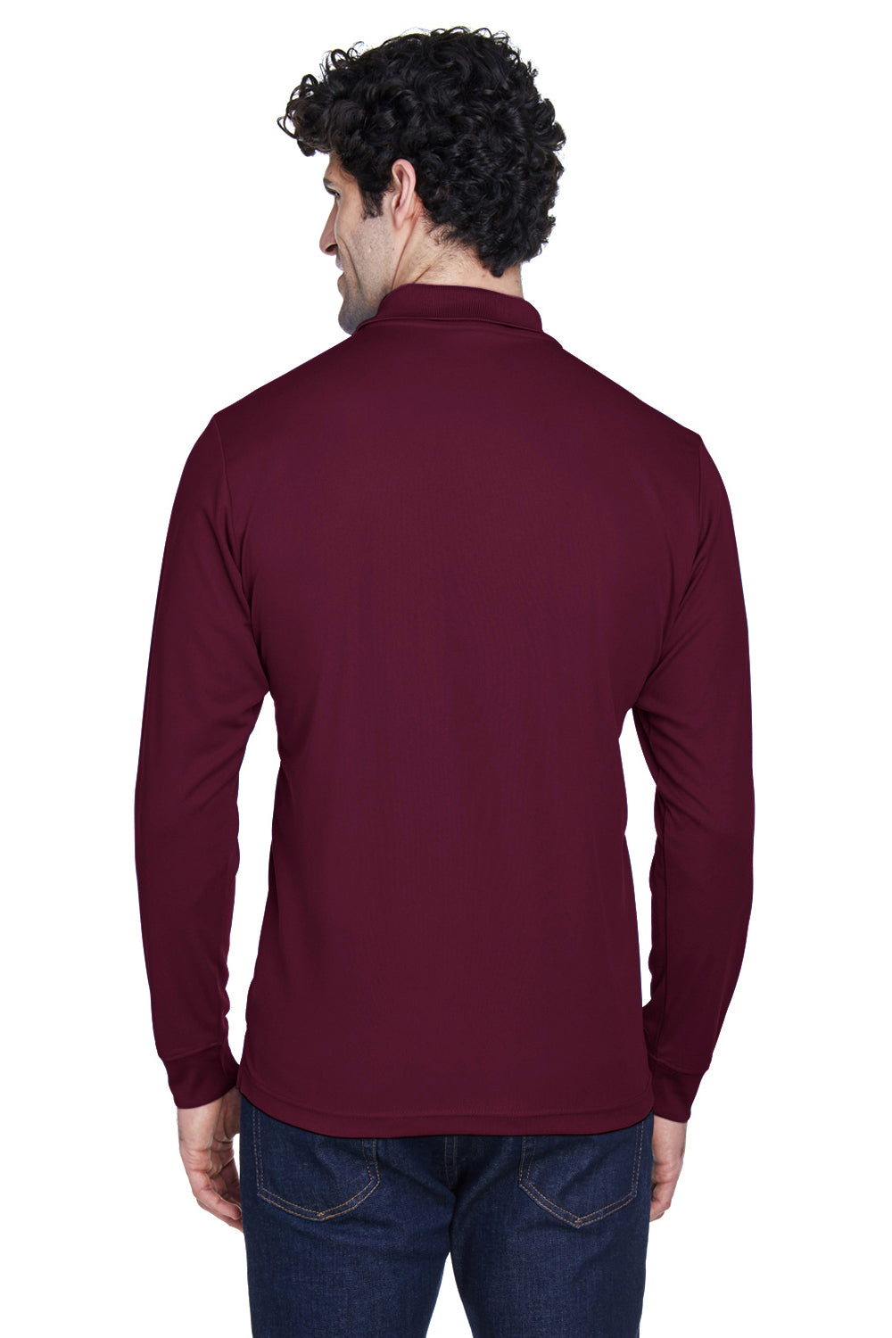 Core 365 88192 Mens Pinnacle Performance Moisture Wicking Long Sleeve Polo Shirt Burgundy Back