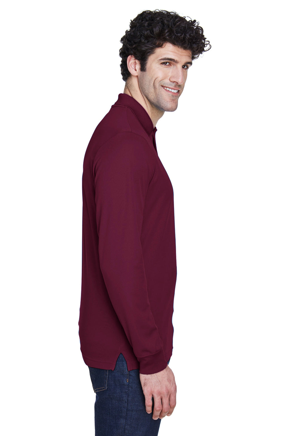 Core 365 88192 Mens Pinnacle Performance Moisture Wicking Long Sleeve Polo Shirt Burgundy Side