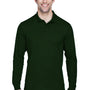 Core 365 Mens Pinnacle Performance Moisture Wicking Long Sleeve Polo Shirt - Forest Green