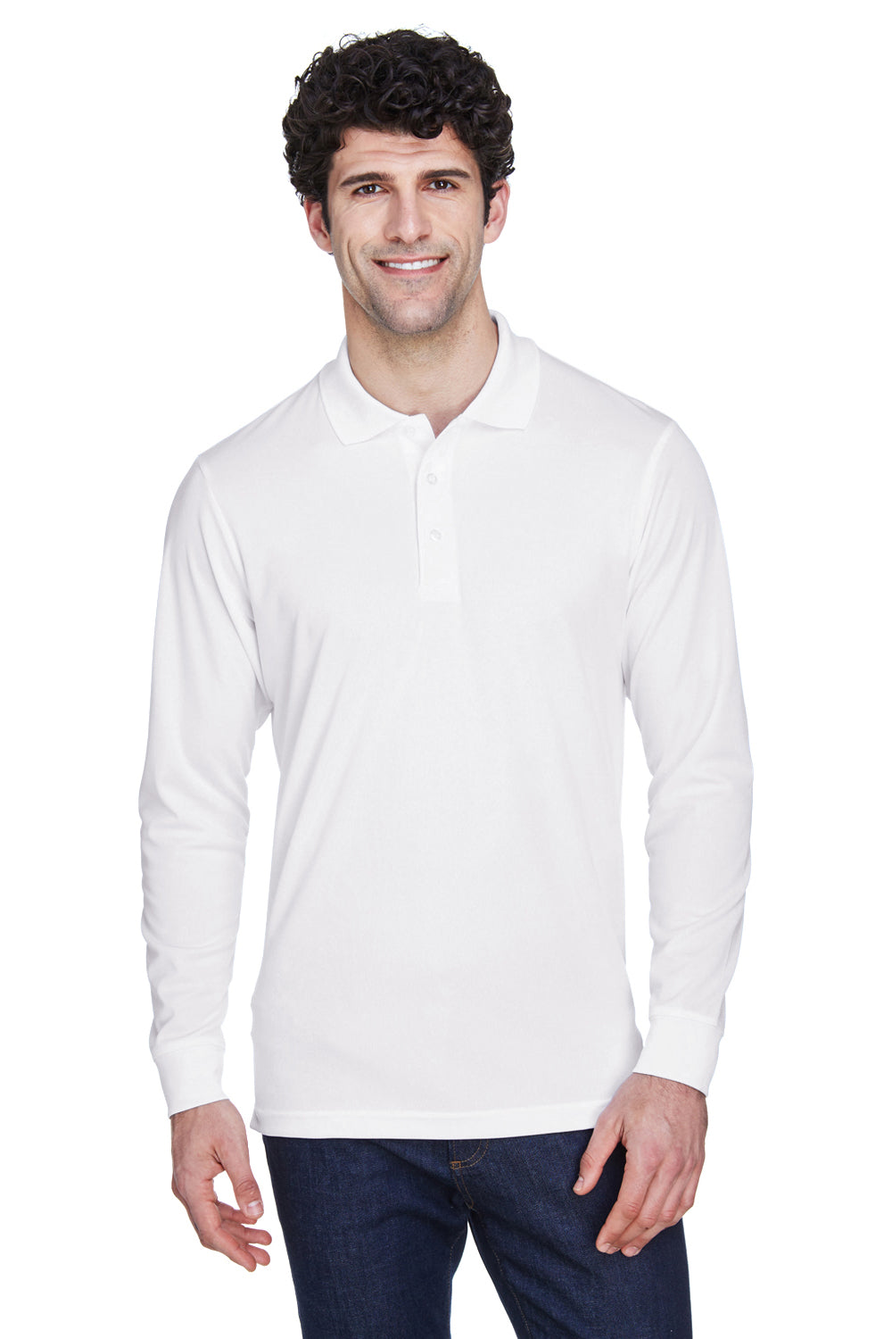 Core 365 88192 Mens Pinnacle Performance Moisture Wicking Long Sleeve Polo Shirt White Front