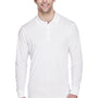 Core 365 Mens Pinnacle Performance Moisture Wicking Long Sleeve Polo Shirt - White