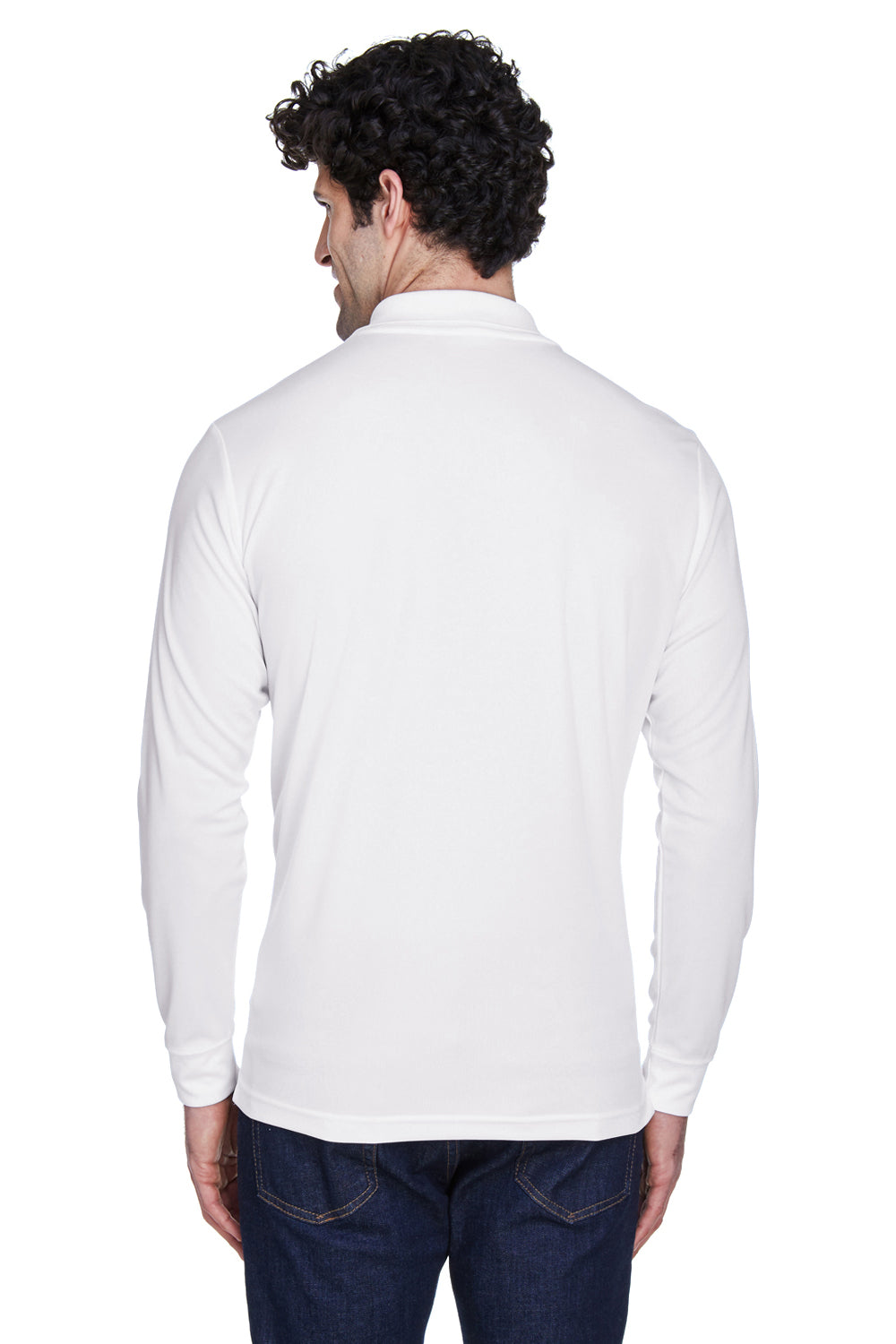 Core 365 88192 Mens Pinnacle Performance Moisture Wicking Long Sleeve Polo Shirt White Back