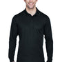 Core 365 Mens Pinnacle Performance Moisture Wicking Long Sleeve Polo Shirt - Black