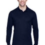 Core 365 Mens Pinnacle Performance Moisture Wicking Long Sleeve Polo Shirt - Classic Navy Blue