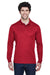 Core 365 88192 Mens Pinnacle Performance Moisture Wicking Long Sleeve Polo Shirt Red Front