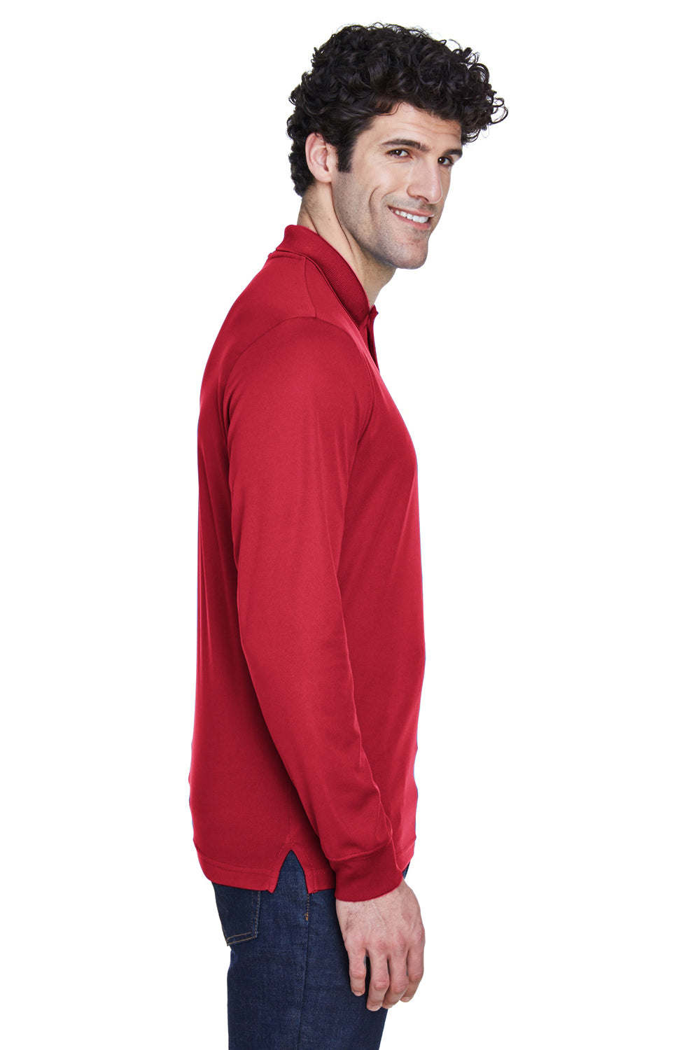 Core 365 88192 Mens Pinnacle Performance Moisture Wicking Long Sleeve Polo Shirt Red Side