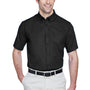 Core 365 Mens Optimum Short Sleeve Button Down Shirt w/ Pocket - Black