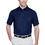 Core 365 Mens Optimum Short Sleeve Button Down Shirt w/ Pocket - Classic Navy Blue