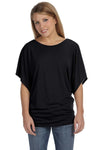 Bella + Canvas 8821 Womens Flowy Draped Dolman Short Sleeve Wide Neck T-Shirt Black Front