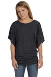 Bella + Canvas 8821 Womens Flowy Draped Dolman Short Sleeve Wide Neck T-Shirt Heather Dark Grey Front