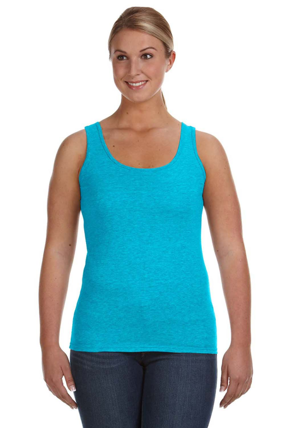 Anvil 882L Womens Tank Top Caribbean Blue Front