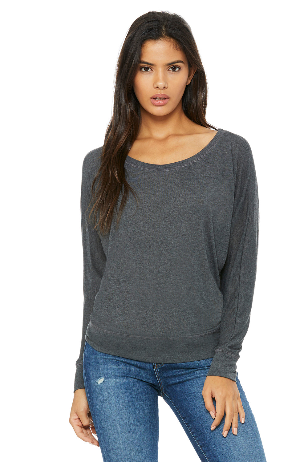 Bella + Canvas 8850 Womens Flowy Off Shoulder Long Sleeve Wide Neck T-Shirt Heather Dark Grey Front