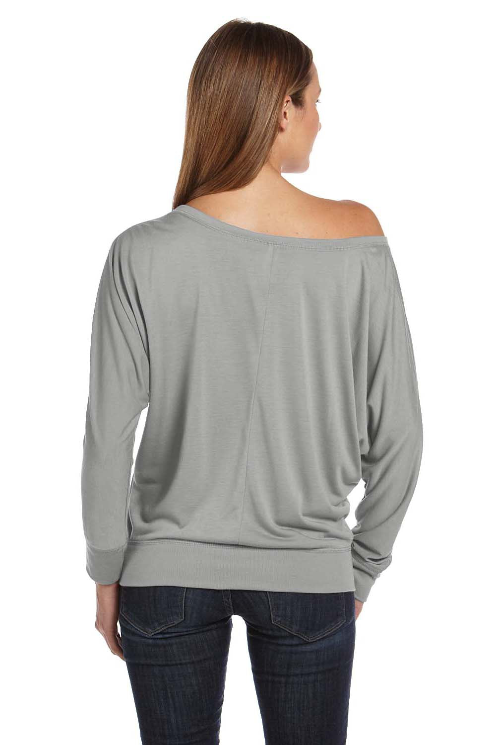 Bella + Canvas 8850 Womens Flowy Off Shoulder Long Sleeve Wide Neck T-Shirt White Marble Back