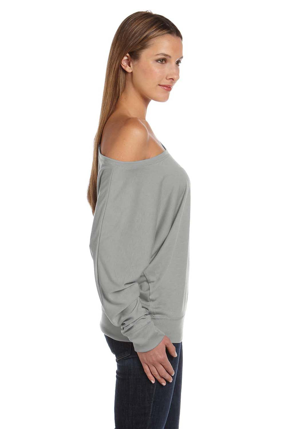 Bella + Canvas 8850 Womens Flowy Off Shoulder Long Sleeve Wide Neck T-Shirt White Marble Side