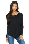 Bella + Canvas 8852 Womens Flowy Long Sleeve Wide Neck T-Shirt Black Front