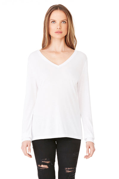 Bella + Canvas 8855 Womens Flowy Long Sleeve V-Neck T-Shirt White Front