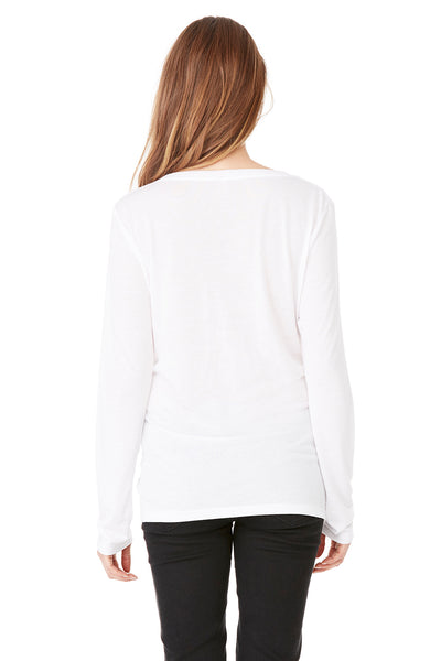 Bella + Canvas 8855 Womens Flowy Long Sleeve V-Neck T-Shirt White Back