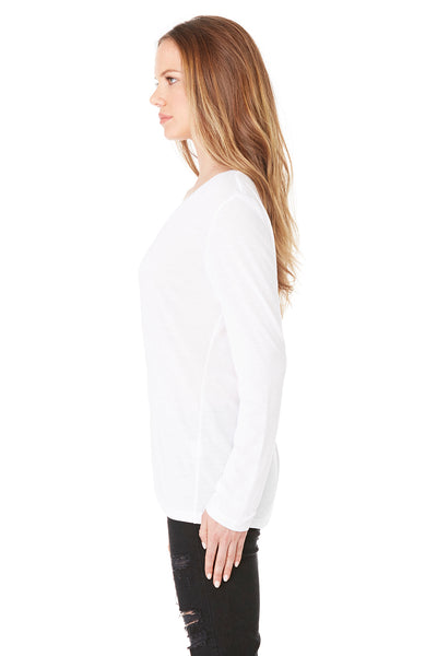 Bella + Canvas 8855 Womens Flowy Long Sleeve V-Neck T-Shirt White Side