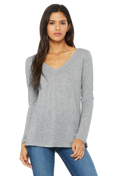 Bella + Canvas 8855 Womens Flowy Long Sleeve V-Neck T-Shirt Heather Grey Front