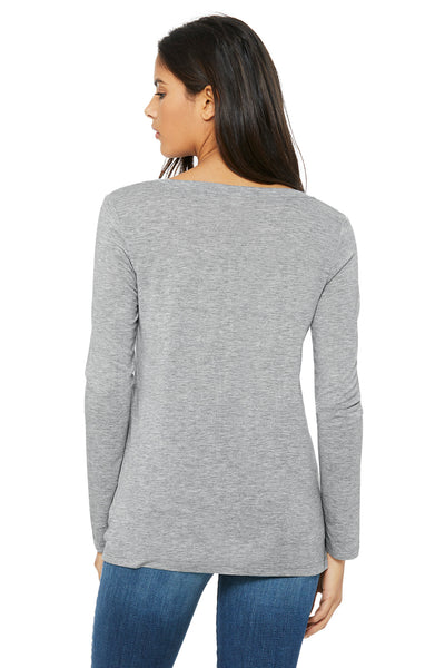 Bella + Canvas 8855 Womens Flowy Long Sleeve V-Neck T-Shirt Heather Grey Back