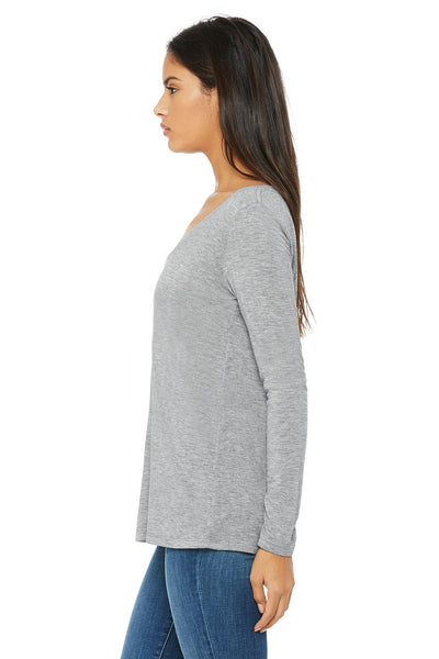 Bella + Canvas 8855 Womens Flowy Long Sleeve V-Neck T-Shirt Heather Grey Side