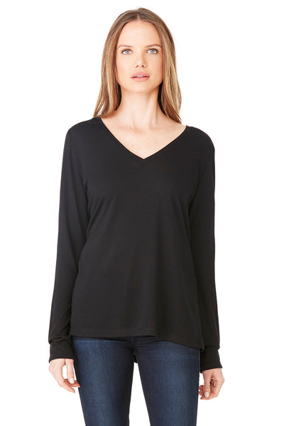 Bella + Canvas 8855 Womens Flowy Long Sleeve V-Neck T-Shirt Black Front