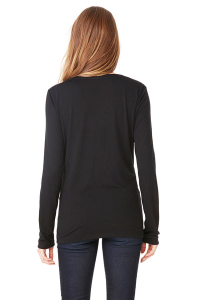 Bella + Canvas 8855 Womens Flowy Long Sleeve V-Neck T-Shirt Black Back