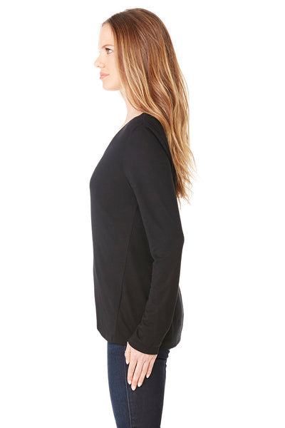 Bella + Canvas 8855 Womens Flowy Long Sleeve V-Neck T-Shirt Black Side