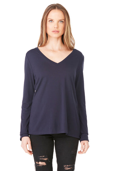 Bella + Canvas 8855 Womens Flowy Long Sleeve V-Neck T-Shirt Midnight Blue Front