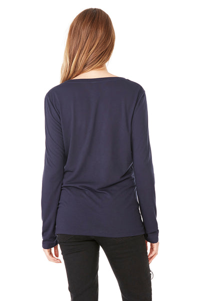 Bella + Canvas 8855 Womens Flowy Long Sleeve V-Neck T-Shirt Midnight Blue Back
