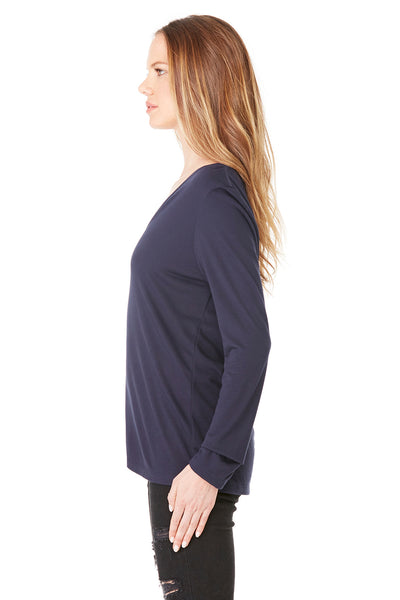 Bella + Canvas 8855 Womens Flowy Long Sleeve V-Neck T-Shirt Midnight Blue Side