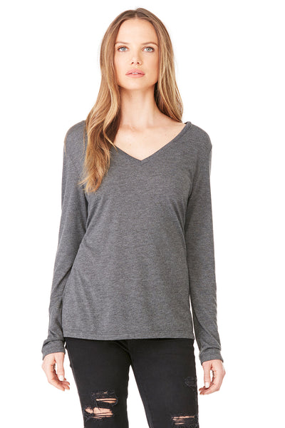 Bella + Canvas 8855 Womens Flowy Long Sleeve V-Neck T-Shirt Heather Dark Grey Front