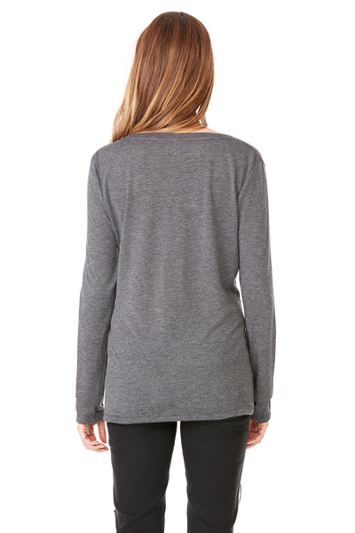 Bella + Canvas 8855 Womens Flowy Long Sleeve V-Neck T-Shirt Heather Dark Grey Back