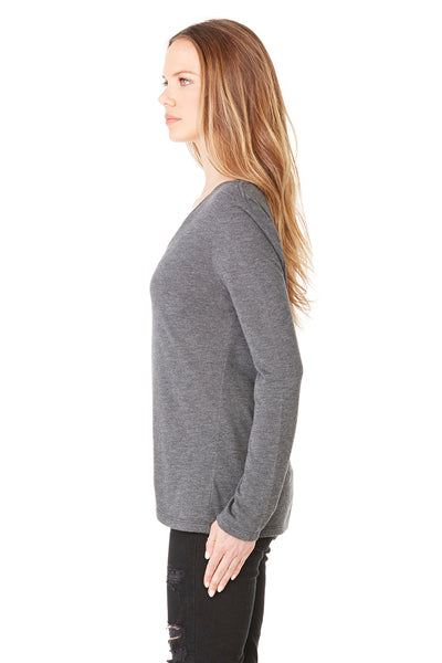 Bella + Canvas 8855 Womens Flowy Long Sleeve V-Neck T-Shirt Heather Dark Grey Side