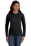 Anvil 887L Womens Long Sleeve Hooded T-Shirt Hoodie Black/Dark Grey Front