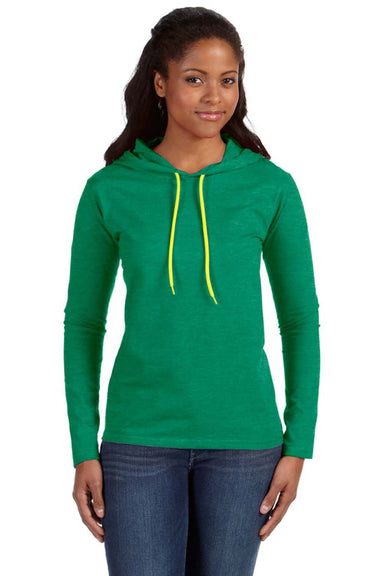 Anvil 887L Womens Long Sleeve Hooded T-Shirt Hoodie Heather Green/Neon Yellow Front