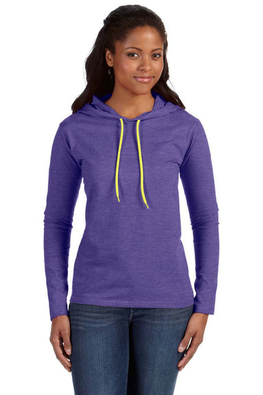 Anvil 887L Womens Long Sleeve Hooded T-Shirt Hoodie Heather Purple/Neon Yellow Front
