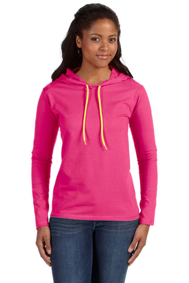 Anvil 887L Womens Long Sleeve Hooded T-Shirt Hoodie Hot Pink/Neon Yellow Front