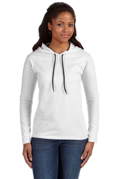 Anvil 887L Womens Long Sleeve Hooded T-Shirt Hoodie White/Dark Grey Front